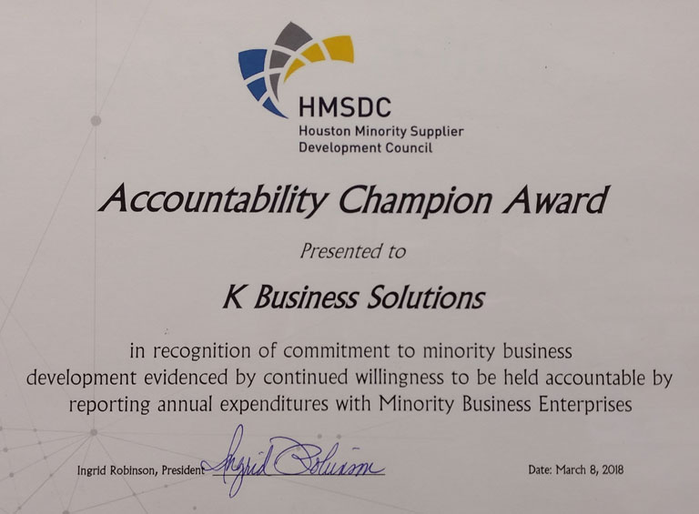 Accountability Champion Award Presented to K Business Solutions