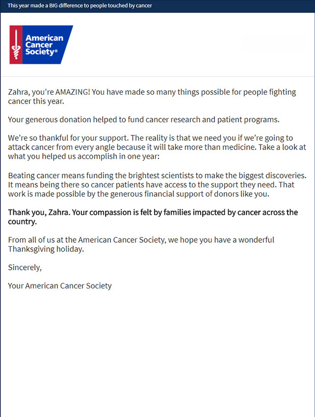 American Cancer Society Letter