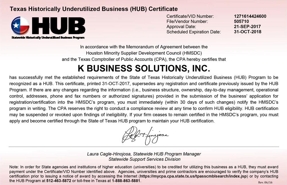 Texas Historically Underutilized Business (HUB) Program (HMSDC)