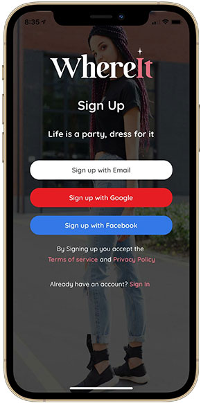 WhereIt - Sign Up With Social